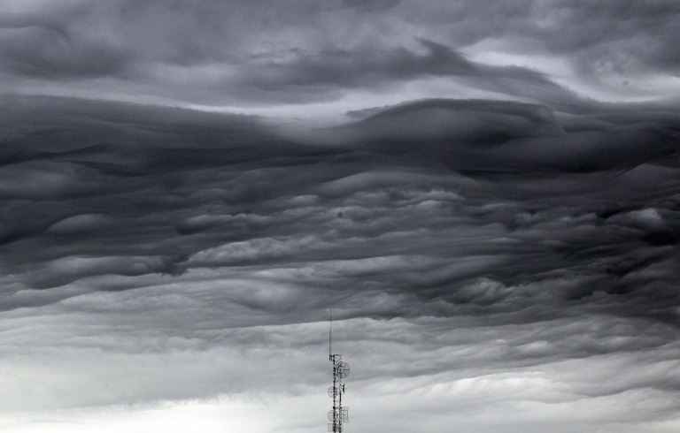 <p>JOPLA storm cloud passes over a communications tower following a thunderstorm five days after a massive tornado passed through the town, killing at least 132 people on May 27, 2011 in Joplin, Missouri. The town is still recovering from the storm, which damaged or destroyed an estimated 8,000 structures.</p>