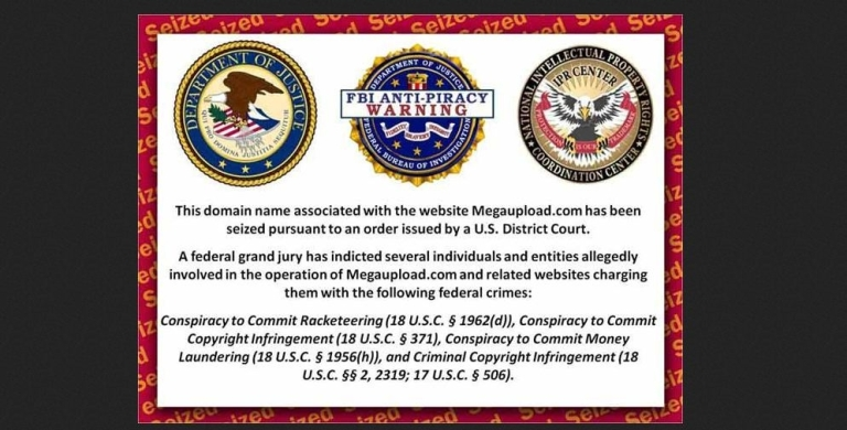 <p>The Megaupload.com domain has been replaced with a warning from the US Department of Justice, the FBI and the US Intellectual Property Rights Coordination Center that the website has been seized and shut down.</p>