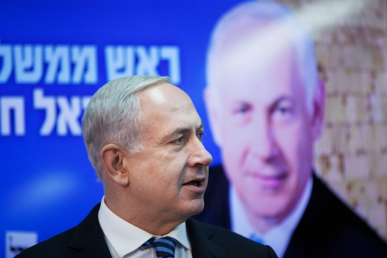 <p>Israeli Prime Minister Benjamin Netanyahu campaigning in Tel Aviv ahead of the Jan. 22 elections.</p>