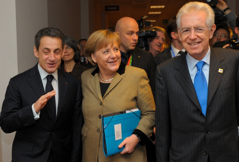 <p>The EU's Big Three:  French President Nicolas Sarkozy, German Chancellor Angela Merkel and Italian Prime Minister Mario Monti at eysterday's summit in Brussels.</p>
