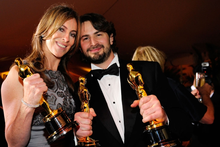 <p>Kathryn Bigelow, winner of best director, and writer Mark Boal, winner of best original screenplay, pose with their Oscars for The Hurt Locker at the 82nd Academy Awards on March 7, 2010, in Hollywood.</p>