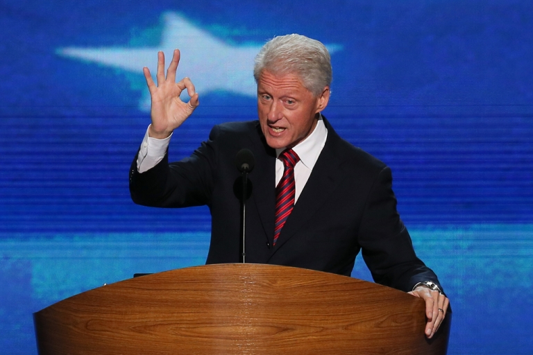 <p>Former US President Bill Clinton speaks on stage during day two of the Democratic National Convention at Time Warner Cable Arena on Sept. 5, 2012 in Charlotte, NC.</p>