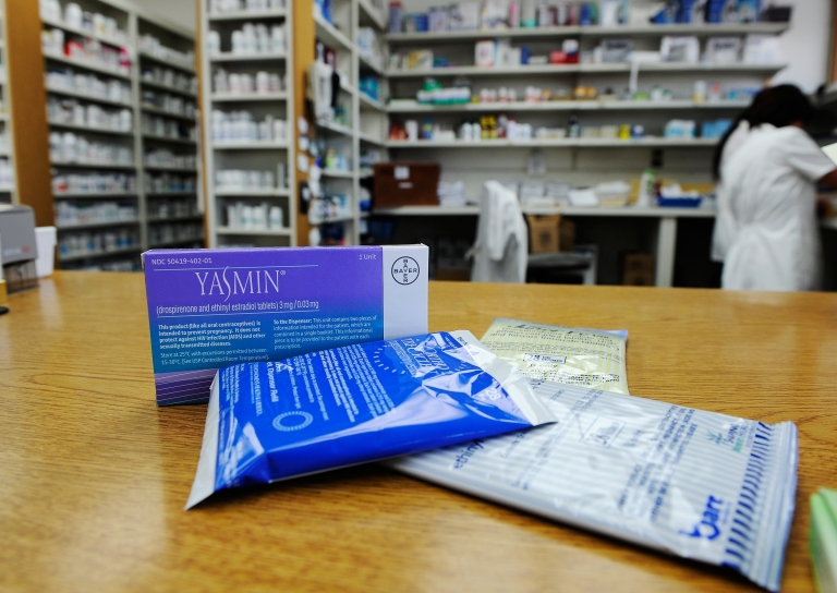 <p>Prescription contraceptives for women sit on the counter of a drug store in Los Angeles on Aug. 1, 2011.</p>