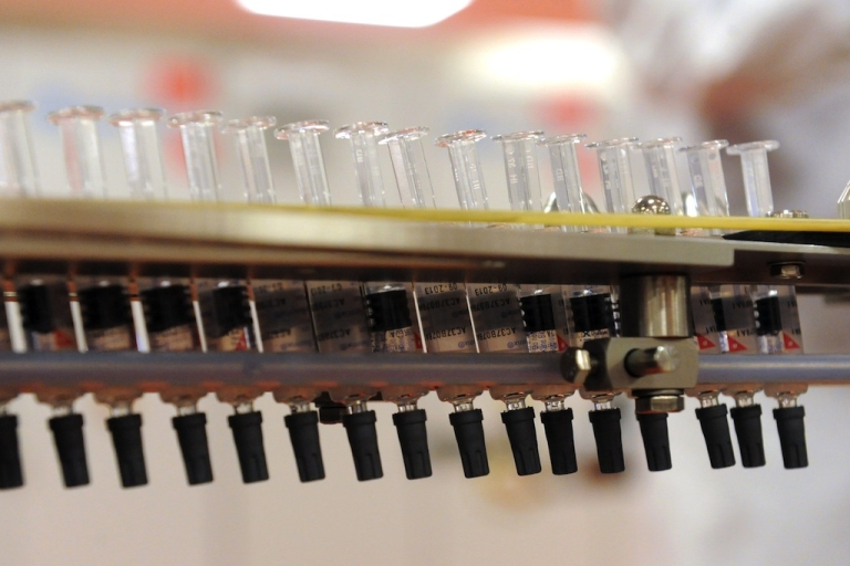 <p>Picture syringe on a vaccine production line taken on December 16, 2011, at the new plant of U.K.'s largest drug maker GlaxoSmithKline (GSK) in Saint-Amand-les-Eaux, northern France, one day after its inauguration.</p>
