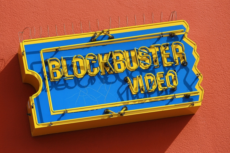 <p>The Blockbuster logo on the side of a store in San Francisco, Calif.</p>