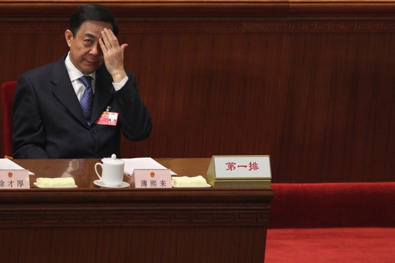 <p>Bo Xilai attends the National People's Congress on March 9, 2012 in Beijing, when he was Communist Party secretary for Chongqing. He has since been ousted and charged with a long list of crimes, in China's biggest political scandal in decades.</p>
