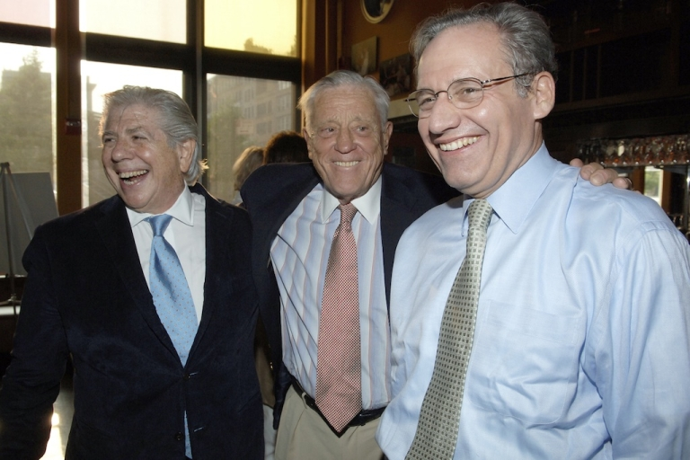 <p>(L-R) Carl Bernstein, Ben Bradlee and Bob Woodward attend the screening of 'All The President's Men' at the Tribeca Cinemas on July 19, 2005 in New York City.</p>