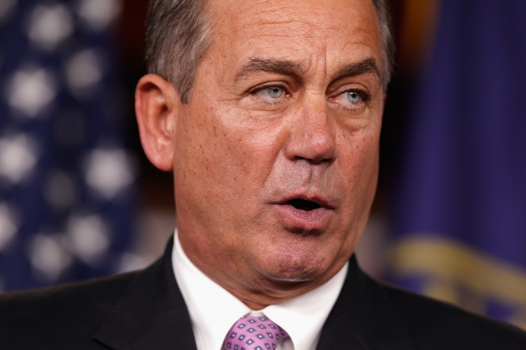 <p>Speaker of the House John Boehner at a news conference with fellow GOP House members at the US Capitol on Dec. 22, 2011.</p>