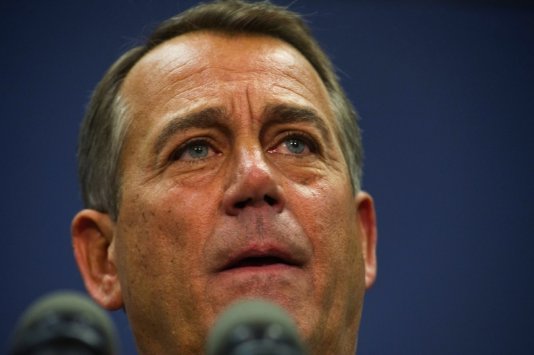 <p>Speaker of the House of Representatives, John Boehner, R-OH, speaks to the press December 18, 2012 on Capitol Hill in Washington, DC. After making major concessions on long-held 'fiscal cliff' positions, US President Barack Obama and Boehner will test the reaction Tuesday of their respective parties in the Congress and continue talks aimed at further narrowing their differences.</p>