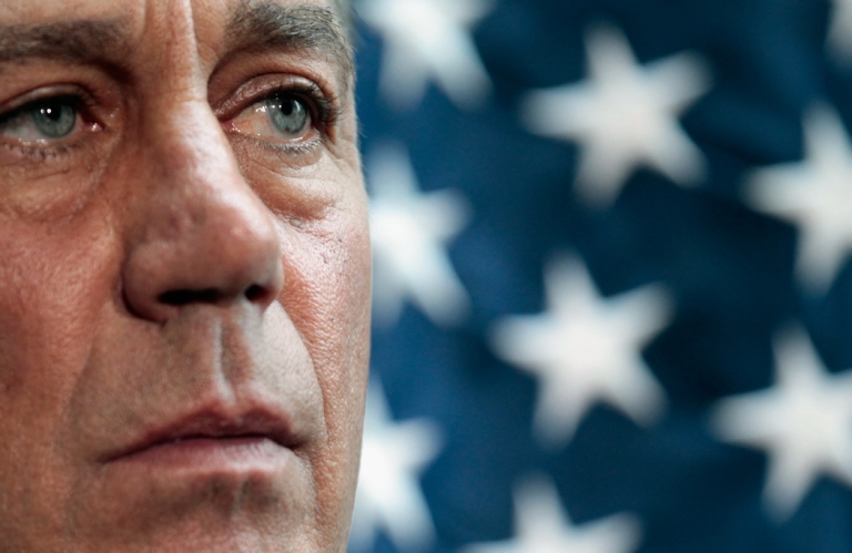 <p>Speaker of the House John Boehner answers reporters' questions during a press briefing after a caucus meeting at the U.S. Capitol July 12, 2011 in Washington, DC.</p>