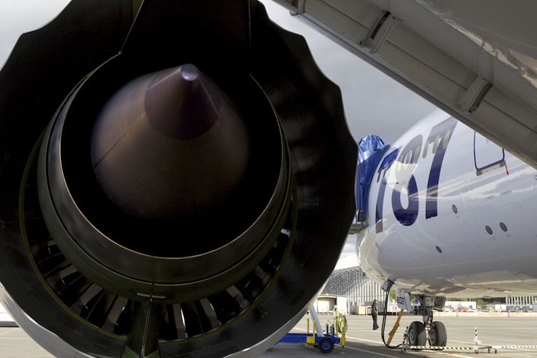 <p>The Roll Royce engine is pictured on a Boeing Boeing 787 Dreamliner belonging to All Nippon Airways September 25, 2011 in Everett, Washington. Boeing delivered its long-awaited and delayed first 787 airliner to All Nippon Airways which it will celebrate before ANA flies the airliner to Japan September 27, 2011.</p>