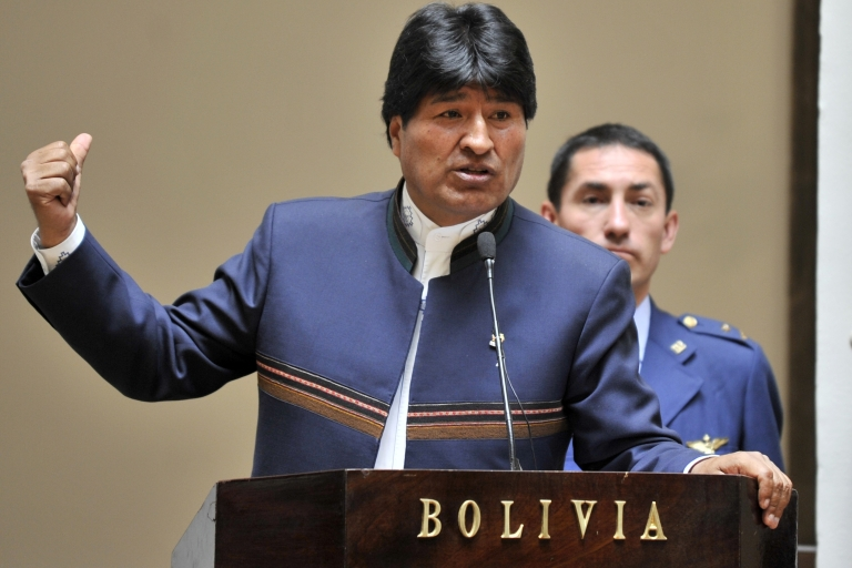 <p>Bolivian President Evo Morales delivers a speech on Oct. 23, 2012 at the Palacio Quemado presidential palace in La Paz.</p>