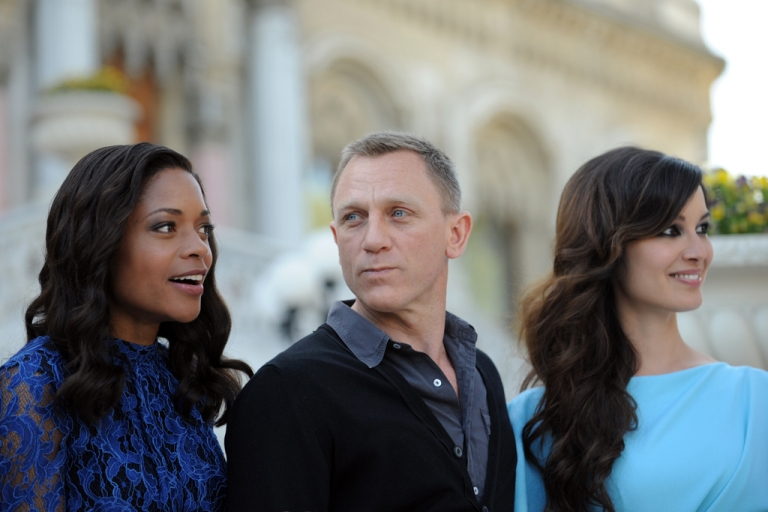 <p>Britsh actor Daniel Craig, French actress Berenice Marlohe and British Naomie Harris, left, pose during the presentation of the latest James Bond film