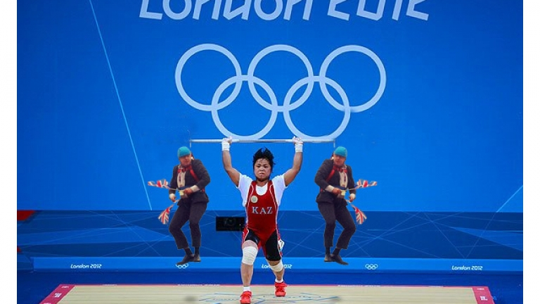 <p>Johnson displays his Olympic fever by participating in the games.</p>