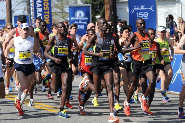 <p>Men's elite field heads out during the start of the 116th running of the Boston Marathon April 16, 2012 in Hopkinton, Massachusetts.</p>