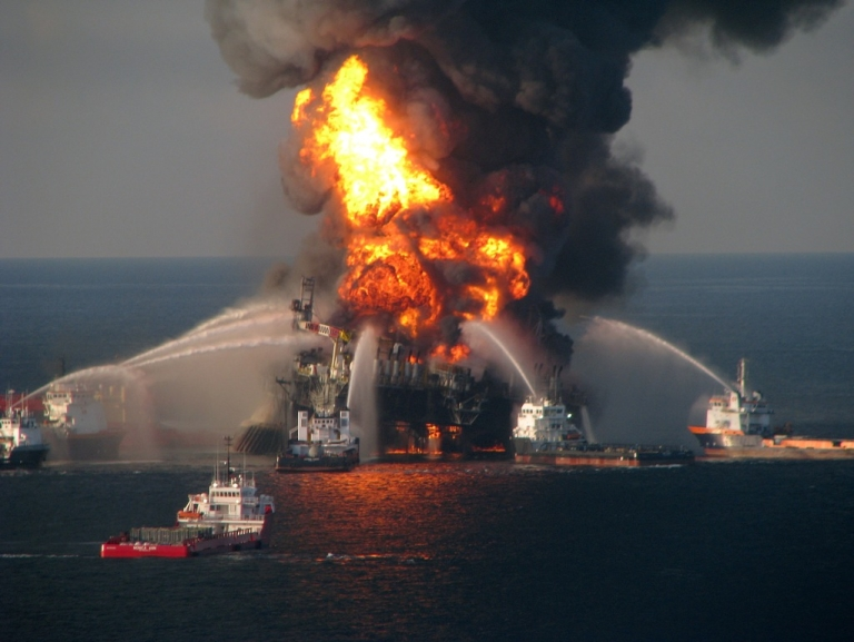 <p>In this handout image provided be the U.S. Coast Guard, fire boat response crews battle the blazing remnants of the off shore oil rig Deepwater Horizon in the Gulf of Mexico on April 21, 2010 near New Orleans, Louisiana.  An estimated 206 million gallons of crude oil have spilled into the gulf from accident. Multiple Coast Guard helicopters, planes and cutters responded to rescue the Deepwater Horizon's 126 person crew.</p>