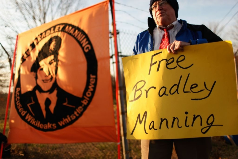 <p>Supporters of US Army Private Bradley Manning, hold vigil outside the gates of Fort George G. Meade, Maryland, where Manning's Article 32 preliminary hearing began on December 18, 2011.</p>