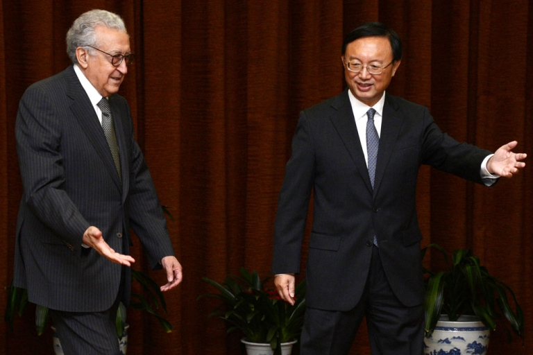 <p>UN-Arab League peace envoy for Syria Lakhdar Brahimi greets Chinese Foreign Minister Yang Jiechi prior to their meeting at the Ministry of Foreign Affairs on October 31, 2012 in Beijing, China. Brahimi is on a two-day visit to China.</p>