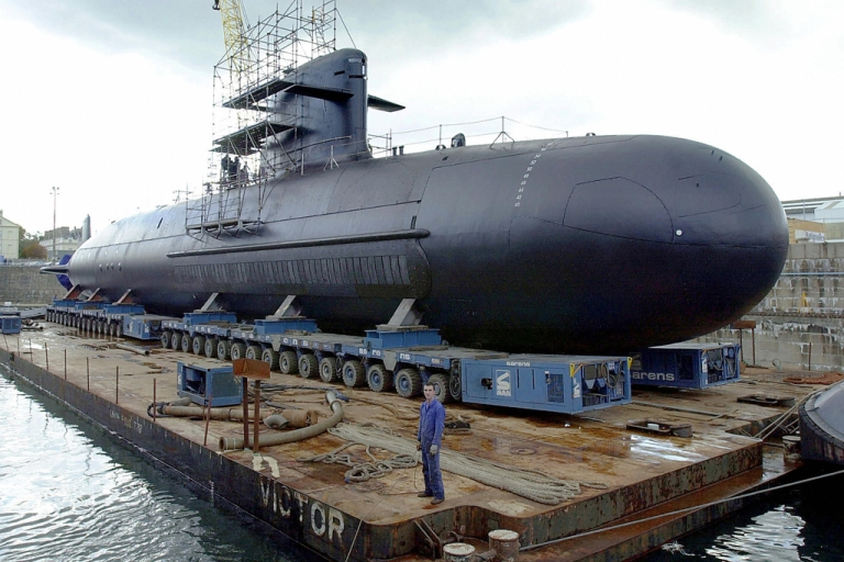 <p>A Scorpene-class diesel submarine at the shipyard in Cherbourg, France, on Oct. 21, 2003.</p>
