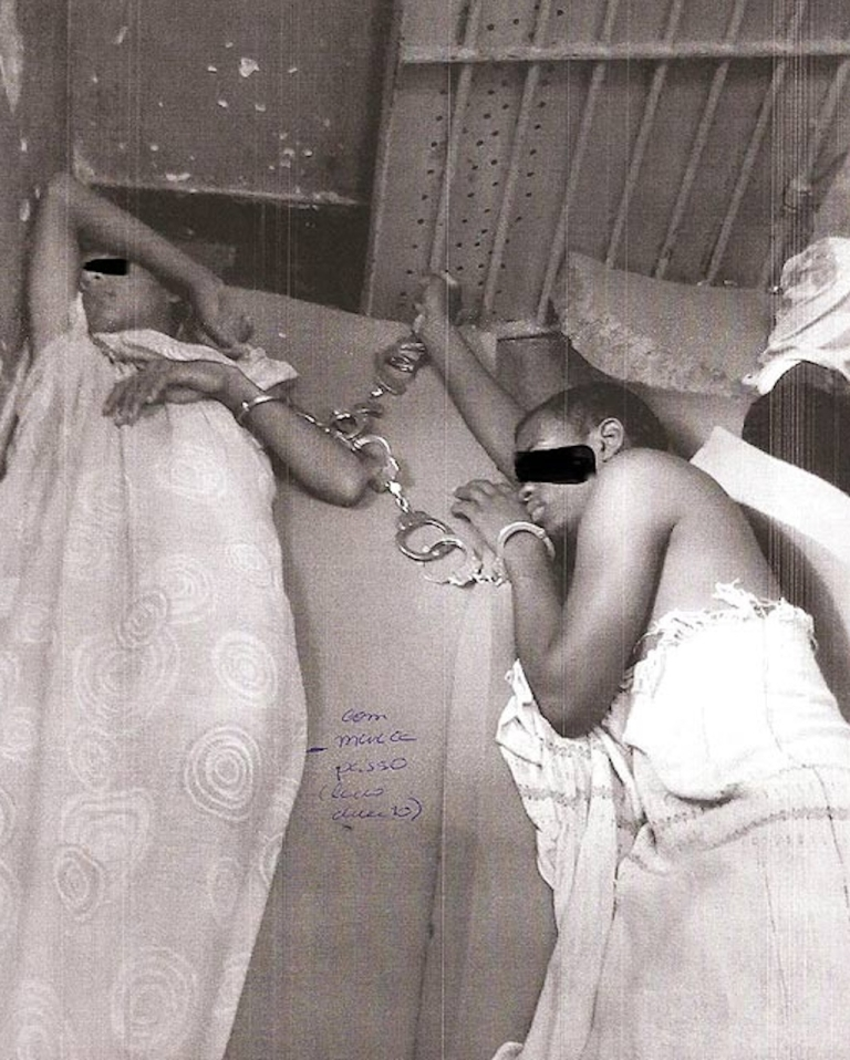 <p>Brazilian teenagers waiting to be processed in juvenile court in Vitória, Espírito Santo, sleep handcuffed to their jail cells.</p>
