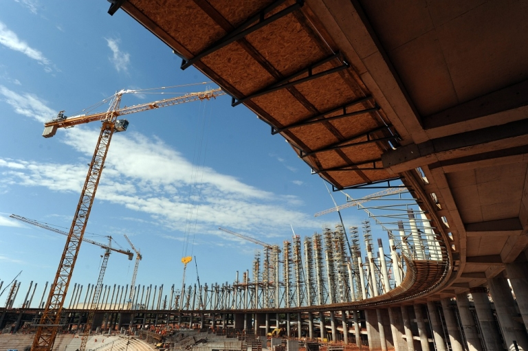 <p>View of the National Stadium works in Brasilia in Feb. 2012. The National Stadium is under constructionas part of preparations for the FIFA World Cup Brazil 2014</p>