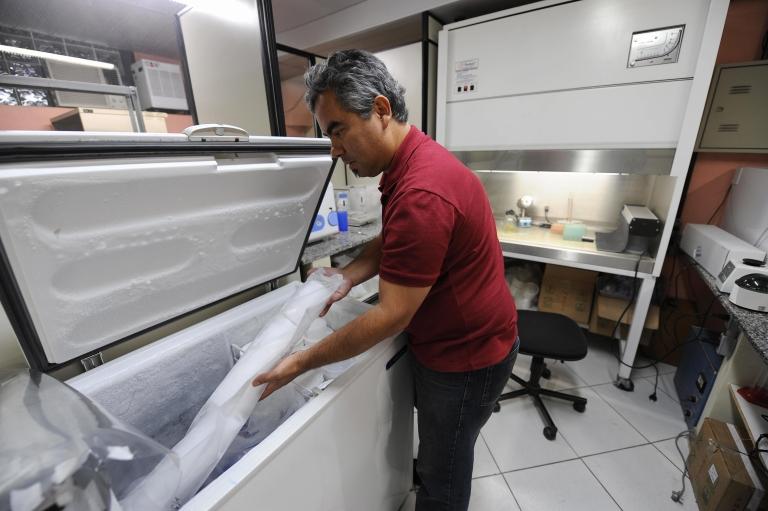 <p>Brazlian physicist Heitor Evangelista is in Rio de Janeiro showing ice brought  back from Antarctica in September 2009.</p>