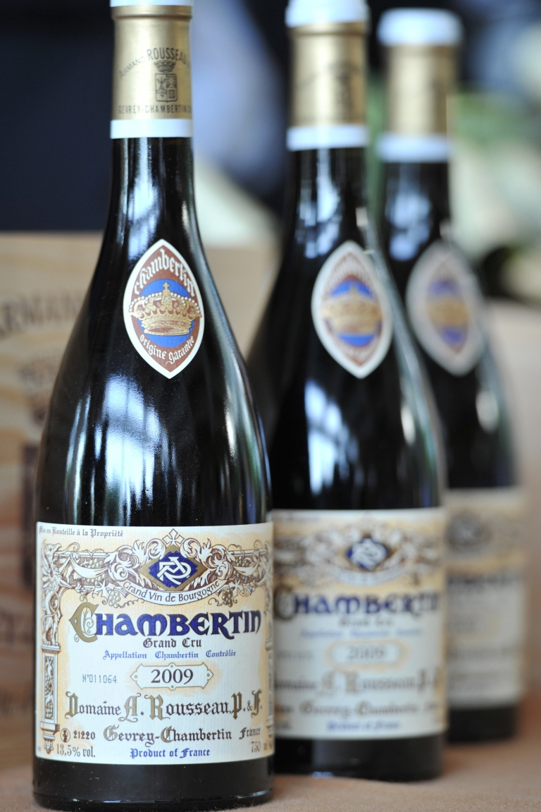 <p>Bottles of A. Rousseau Chambertin Vintage 2009 red wine displayed in Hong Kong this week. Researchers published a study Tuesday that links even small amounts of alcohol to an increased risk of breast cancer.</p>