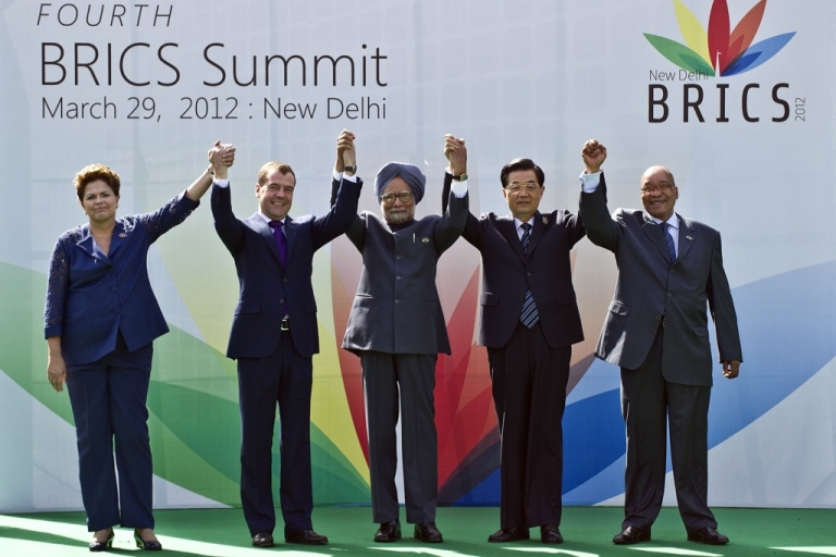 <p>Heads of the BRICS countries (L to R) President Dilma Rousseff of Brazil, Russian President Dimitry Medvedev, Indian Prime Minister Manmohan Singh, Chinese President Hu Jintao and President Jacob Zuma of South Africa pose prior to the BRICS summit in New Delhi on March 29, 2012.</p>