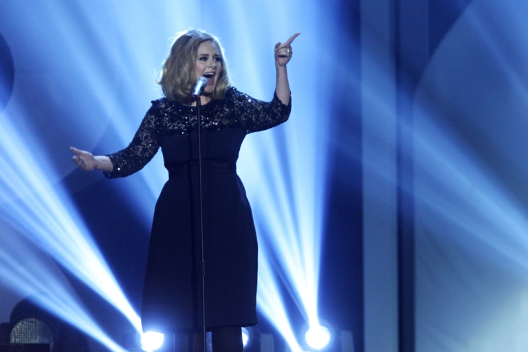 <p>Adele performs at The Brit Awards 2012 at The O2 Arena on February 21, 2012 in London, England.</p>