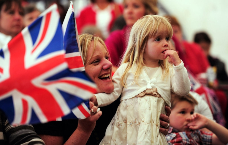 <p>Ruby Newsham (right) and Janette Newsham from Theale watch the wedding of Prince William and Kate Middleton in the Village of Bucklebury on April 29, 2011 in Bucklebury, United Kingdom.</p>
