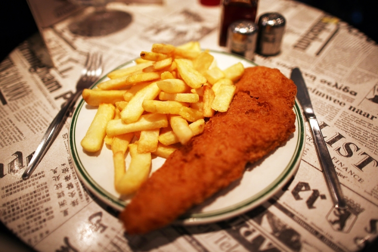 <p>A traditional dish of Fish and Chips is placed on a table in a cafe on February 22, 2011 in London, England.</p>