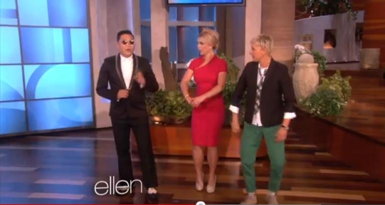 <p>South Korean rapper PSY schooled Britney Spears in the art of dancing Gangnam Style on The Ellen DeGeneres Show.</p>