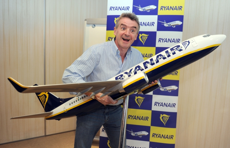 <p>Ryanair CEO Michael O'Leary poses for photographers after a press conference in Marignane near Marseille-Provence airport, southern France, on February 1, 2011.</p>