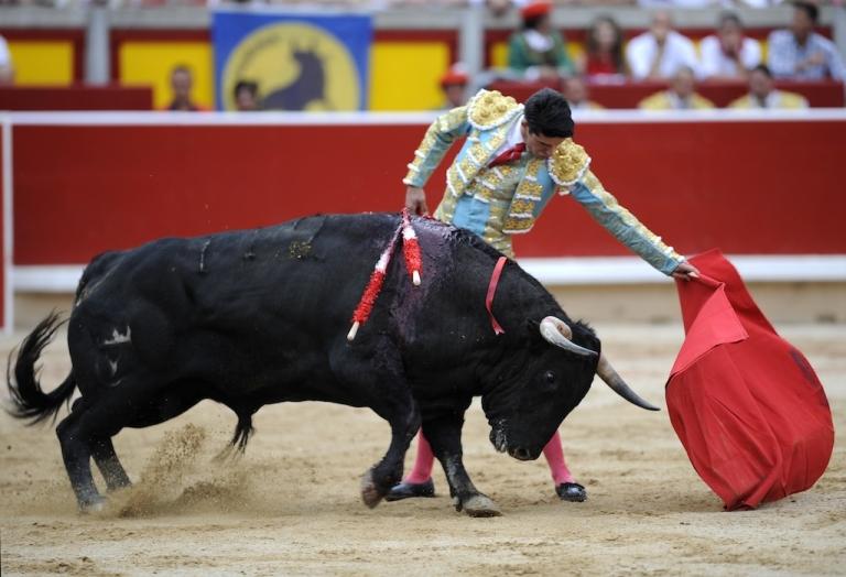 <p>Spanish matador Alejandro Talavante in action at the San Fermin festival in Pamplona on July 13, 2012.</p>