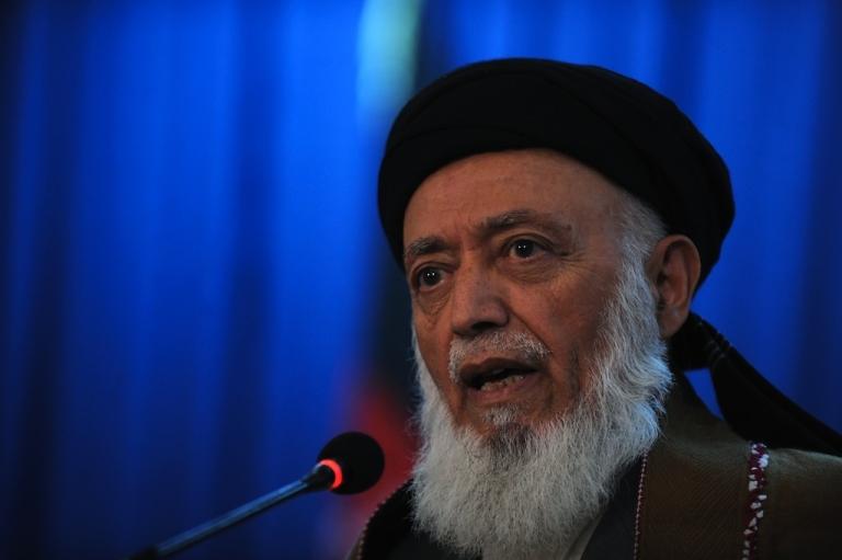 <p>Burhanuddin Rabbani, former Afghan president, speaks during a press conference in Kabul on October 14, 2010.</p>