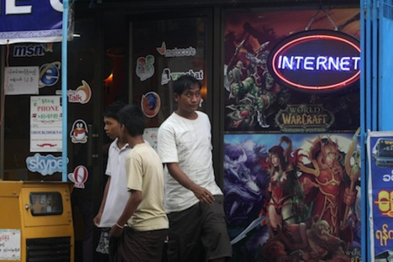 <p>An Internet cafe in Yangon, Burma's largest city. The Burmese government is looking to expand internet connectivity and cellphone use across the country.</p>