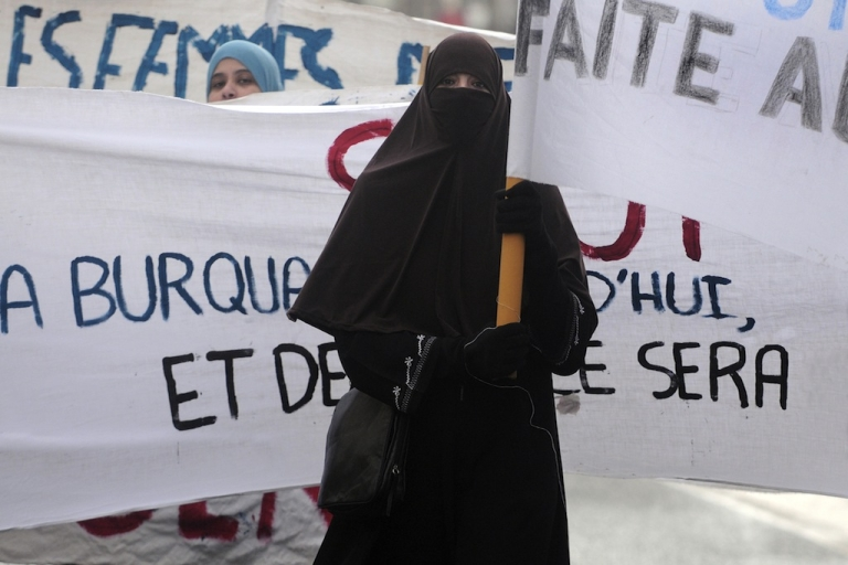 <p>Many Muslim women protested against France's ban on traditional face-covering veils like burqas before it went into effect in 2011, like these women at a demonstration in Tours, France. A new poll shows how people in Muslim-majority countries feel women should dress in public.</p>
