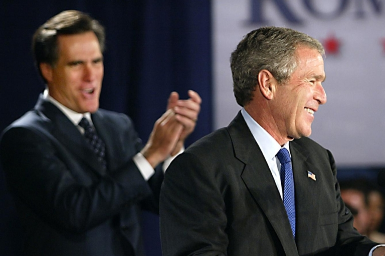 <p>Despite his highly unpopular presidency, George W. Bush is now viewed more positively than presidential hopeful Mitt Romney, according to a recent Bloomberg poll.</p>