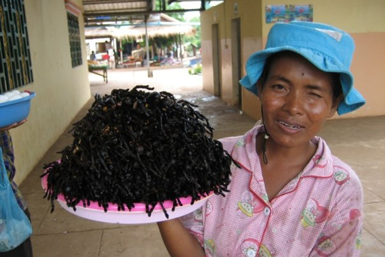 <p>A Cambodian woman in Skuon sells her fried tarantulas near the town's bus depot.</p>