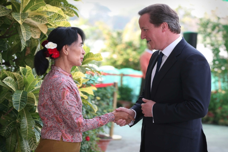 <p>British Prime Minister David Cameron (R) meets with pro-democracy leader Aung San Suu Kyi on April 13, 2012 in Yangon, Myanmar. Mr Cameron is ending his five day trade mission to the far east in Myanmar, the first British Prime Minister to visit the country since 1948.</p>