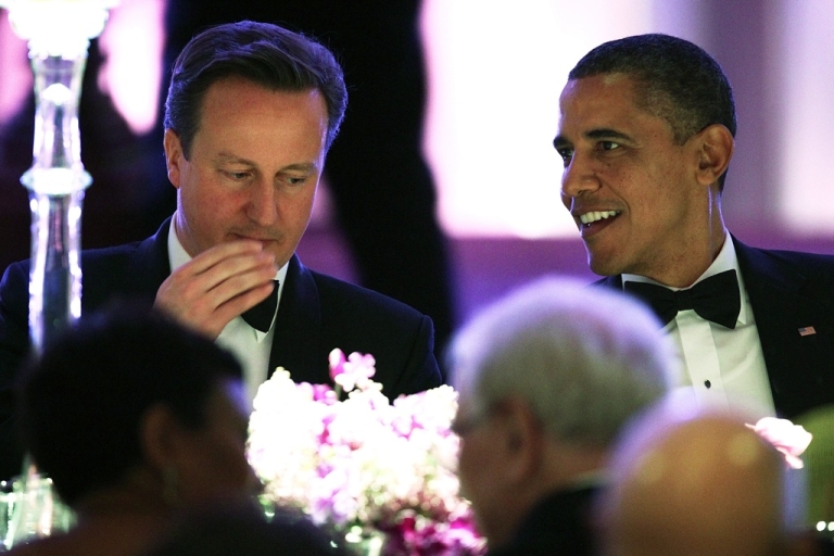 <p>U.S. President Barack Obama hosts British Prime Minister David Cameron for a state dinner at the South Lawn of the White House March 14, 2012 in Washington, DC. Prime Minister Cameron was on a three-day visit in the U.S. and he had talks with Obama earlier the day.</p>