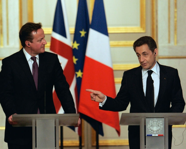 """<p>Speaking at a joint press conference with French President Nicolas Sarkozy (R) at the Élysée Palace in Paris on Friday, British Prime Minister David Cameron said: """"When you look across the foreign policy and defence policy issues we have discussed today, I don't think that there has been closer French-British cooperation than at any time since the Second World War.""""</p>"""