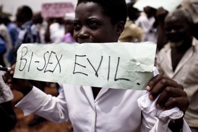 <p>A Ugandan woman takes part in an anti-gay demonstration in Jinja, Kampala on Feb. 14, 2010.</p>