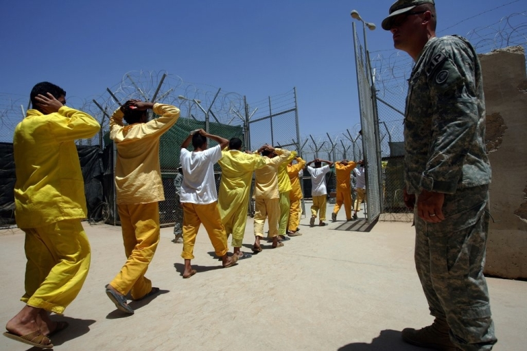 <p>Us forces at the Camp Cropper detention facility outside Baghdad, Iraq in 2008, where Saddam Hussein himself spent three years until he was hanged in December, 2006. On Friday Iraq said it will execute two of Saddam Hussein's half-brothers within weeks, a day after they were handed over by the United States.</p>