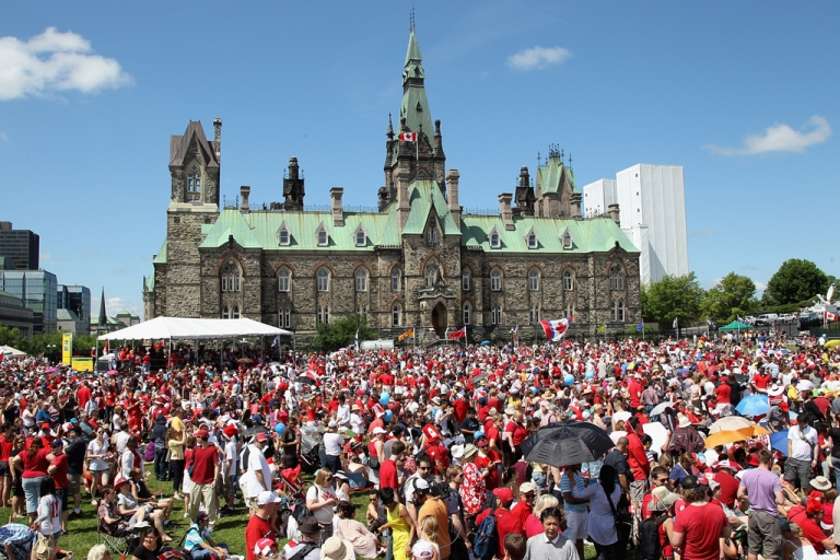 <p>Canadians take part in Canada Day celebrations on July 1, 2011, in Ottawa, Canada.</p>