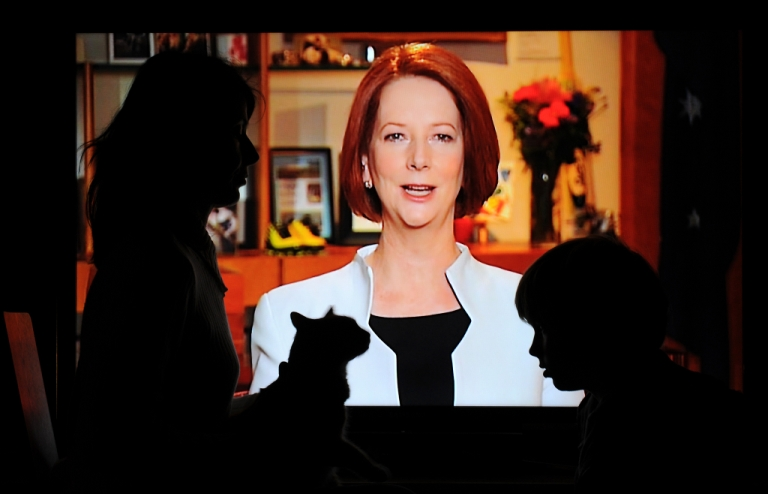 <p>Australian Prime Minister Julia Gillard addresses the nation on July 10, 2011, announcing plans to tax carbon pollution.</p>