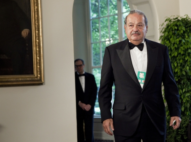 <p>Carlos Slim arrives at the White House in Washington DC for a state dinner on May 19, 2010.</p>