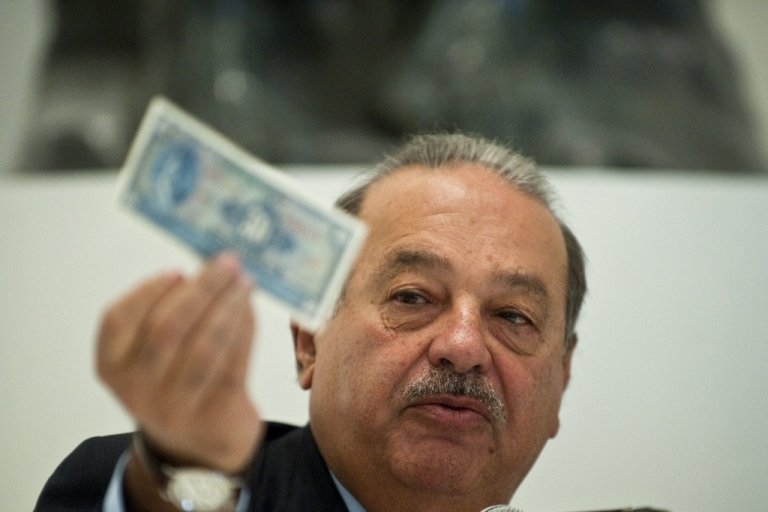 <p>Carlos Slim speaks during a press conference in Mexico City, on March 28, 2011.</p>