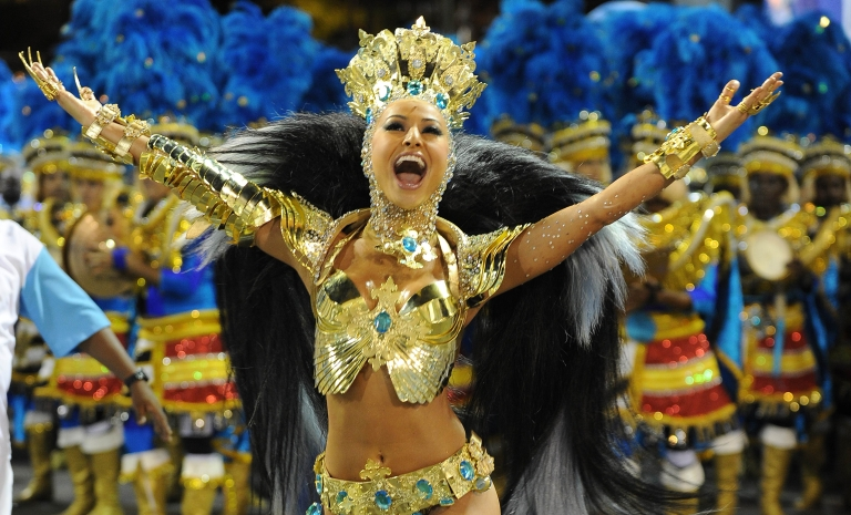 <p>Sabrina Sato of the Vila Isabel samba school performs during the first night of Carnival parades at the Sambadrome in Rio de Janeiro.</p>