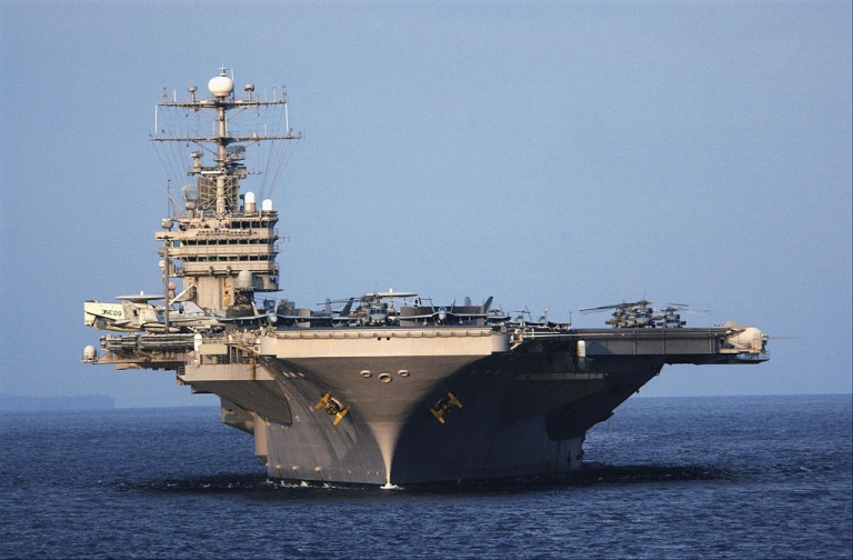 <p>The aircraft carrier USS Abraham Lincoln and its battle group have been on patrol in the Strait of Hormuz.  Iran has threatened to close the Strait in response to EU sanctions on the import of Iranian oil.</p>